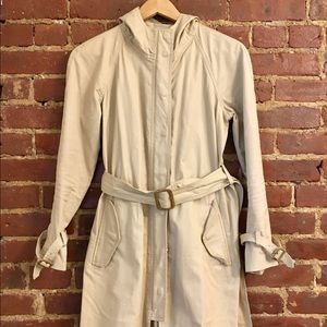 JCrew khaki trench coat with tan hardware
